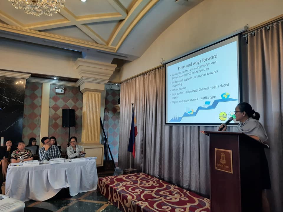 ATI information Officer V, Ms. Antonieta Arceo, presents the e-Learning for Agriculture & Fisheries during the GBPR Paper Presentations last December 16, 2019 (Photo Credit: Joeven C. Calasagsag)